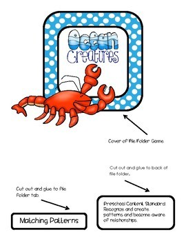 Ocean Creatures File Folder Game