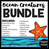 Ocean Creatures Reading Comprehension Bundle; Sea; Summer; Animals
