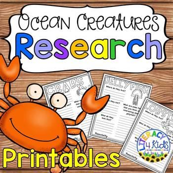 Ocean Creatures Research Templates for Grades 2-3