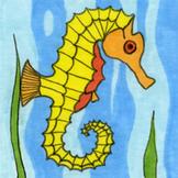 Ocean Creatures Sticker or Clipart Seahorse