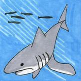 Ocean Creatures Sticker or Clipart Shark