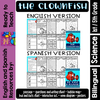 Ocean Creatures - The Clownfish - Worksheets and Readings - Bilingual Resource
