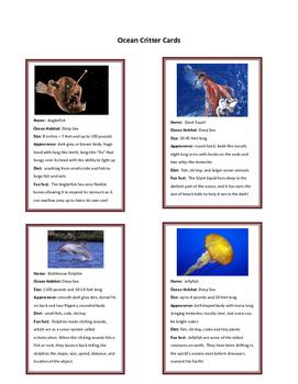 Ocean Critter Cards