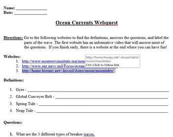 Ocean Current Webquest (RECENT UPDATE) by Engaging Einsteins | TpT