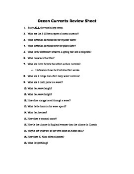 Oceans - Ocean Currents Assessment (Quiz)