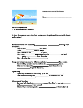 Ocean Currents Guided Notes