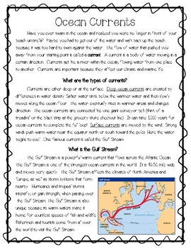 Ocean Currents Reading Passage