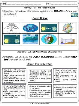 Ocean Currents, Waves and Tides:Cut / Paste Activities|Digital Distance Learning