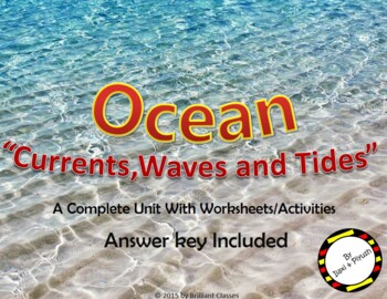 Ocean Currents, Waves and Tides - Types and Causes with worksheets