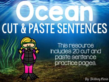 Ocean Cut and Paste Sentences