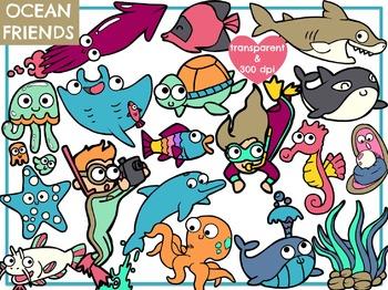 Ocean & Scuba Friends (Digital Clip Art)
