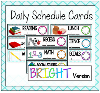 Daily Schedule Cards {Bright Version}