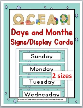 Days of the Week & Months of the Year Cards with Primary F