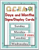 Days of the Week Labels & Months of the Year Labels -Ocean Theme Classroom Decor