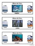 Ocean-Desert Animal Habitat/Clothespin Task/Cut & Paste/Sorting for Autism