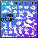 Ocean Doodles clip art (B&W PNG files)