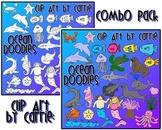 Ocean Doodles clip art (combo BW & Color PNG)