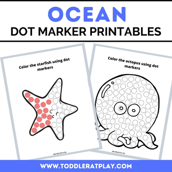 Ocean Dot Marker Coloring Pages By Toddler At Play Tpt