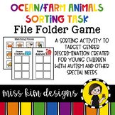Folder Game: Ocean and Farm Animal Sorting for Special Education
