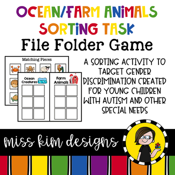 Ocean and Farm Animals Sorting File Folder Game for Specia