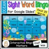 Ocean First 25 Sight Words Digital Bingo Game for Google Slides™