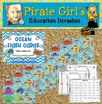 Ocean Flash Cards (Dolch Primer Words)