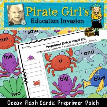 Ocean Flash Cards (dolch preprimer words)