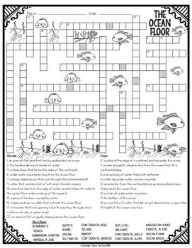Ocean Floor Crossword