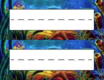Ocean Floor Desk Name Tag Plates Set