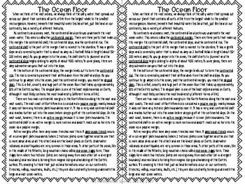 Ocean Floor Reading Comprehension Interactive Notebook