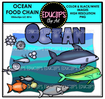 Ocean Food Chain Clip Art Mini Bundle {Educlips Clipart}