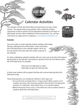 Ocean Forests Calendar Activities