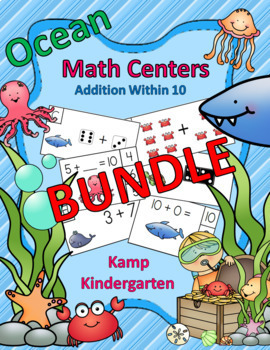 Ocean Friends Addition Within 10 Math Centers Bundle