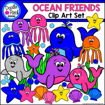 Ocean Friends Sea Life Clip Art Set - Doodle Patch Designs