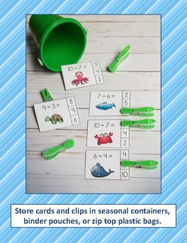 Ocean Friends Subtraction Within 10 Math Centers