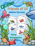Ocean Friends of 10 Addition Clip Cards  Distance Learning