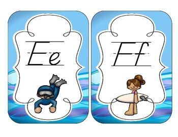 Ocean Fun Alphabet Cards: D'Nealian Set