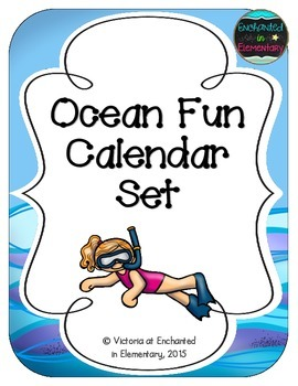 Ocean Fun Calendar Numbers, Months and Days