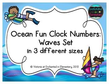 Ocean Fun Clock Numbers: Waves Set