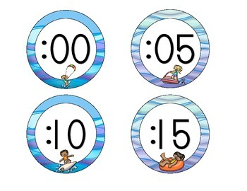 Ocean Fun Clock Numbers: Waves and Ombre Set