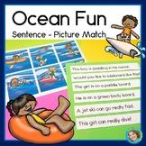 Ocean Fun Sentence Picture Match Reading Center FREE