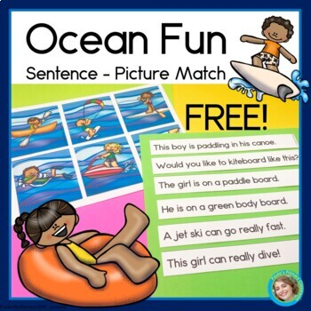 Ocean Fun Sentence Picture Match Reading Center FREE