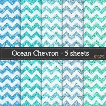 Ocean Glitter Chevron