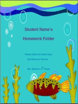 Editable Ocean Homework Folder Sheet