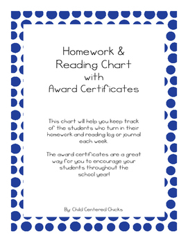 Homework and Reading Teacher Tracking Chart with Award Certificates Ocean