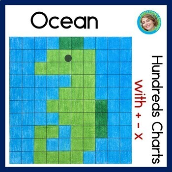 Ocean Hundreds Charts with Addition, Subtraction & Multiplication problems