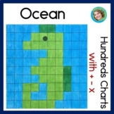 Ocean Hundreds Chart Mystery Pictures with addition subtraction multiplication