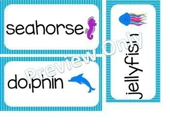 Ocean Vocabulary Word Cards
