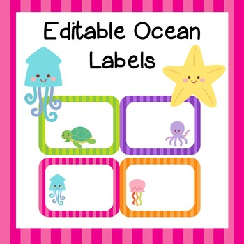 Classroom Decor  Labels *Editable* ocean theme