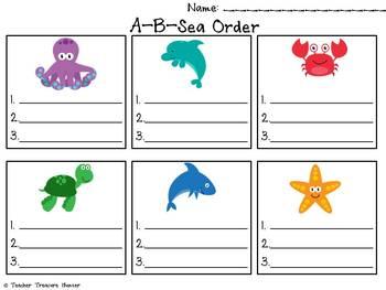 Ocean Language Arts Centers ~ 2 ELA centers ABC order & compounds*
